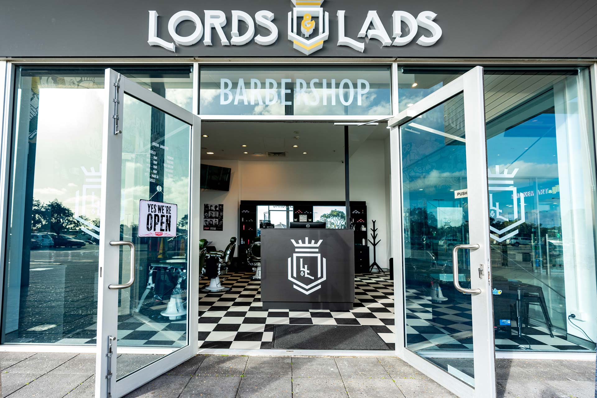 Lords & Lads Barbers shop front design