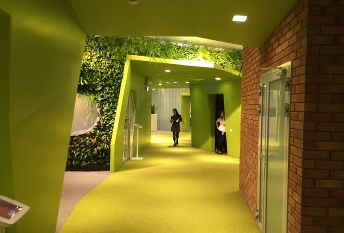 abstract office walkway painted green